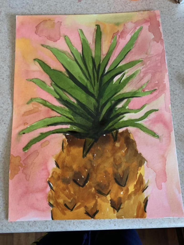 Watercolor pineapple on a pink and orange backgroud