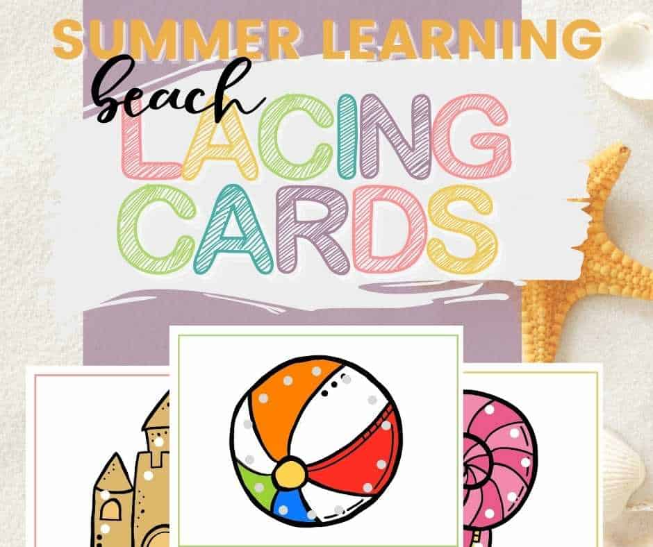 summer lacing card printable for summer learning - beach inspired