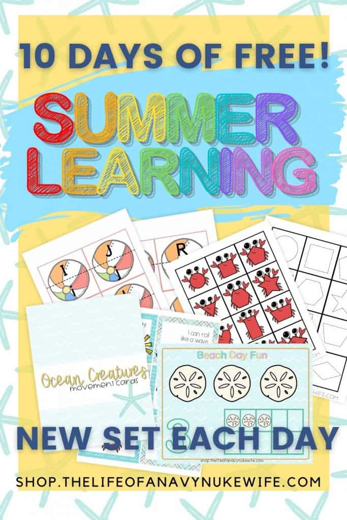 Image of summer preschool worksheets, ocean creatures movement cards, crab shapes, and more!