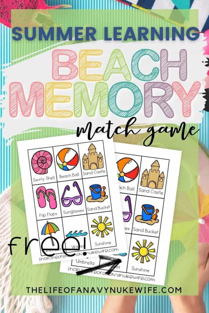 Beach Printable Memory Matching Game for Preschoolers