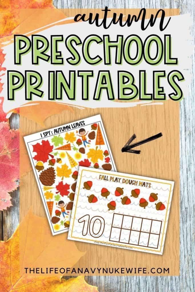 Preschool Printables for fall
