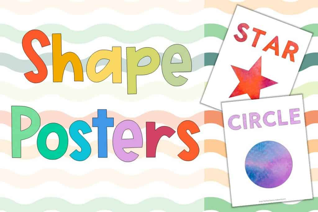 Preschool Shapes Poster Printable with a red watercolor star poster and a blue and lilac circle poster