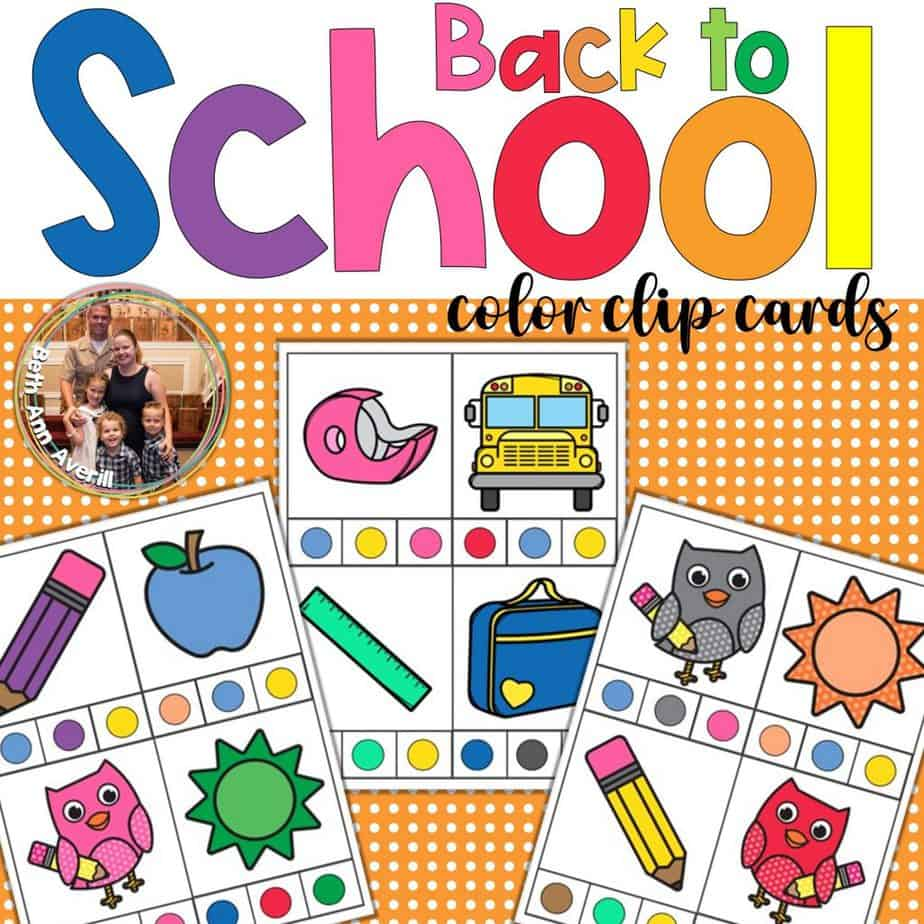 Work on Colors with your Preschooler with these back to school color clip cards