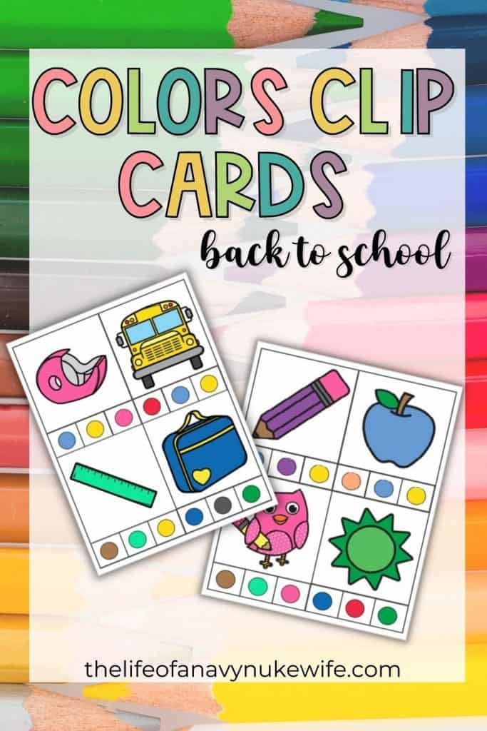 color clip cards for back to school